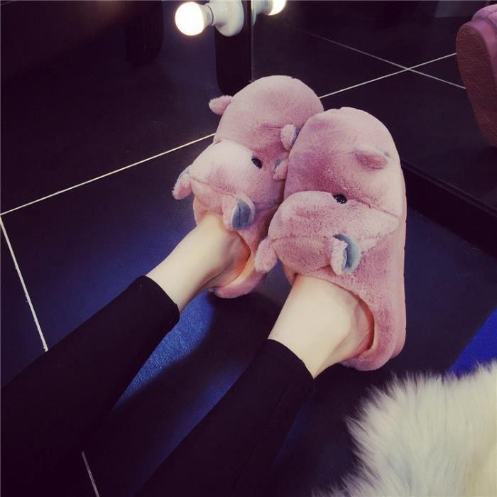 Pantoufles de coton hippopotames chaudes d'hiver Pantoufles femme Pantoufles hommes