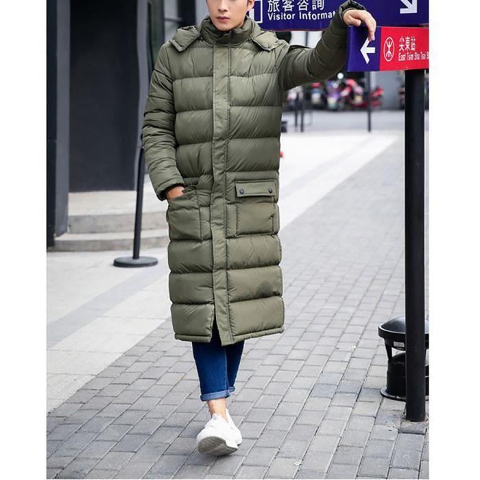 Doudoune Homme Mode Longue-Style massif Réchauffez Down Jacket couleur  capuche Multi-Pocket Hiver 3b6f608d7b8