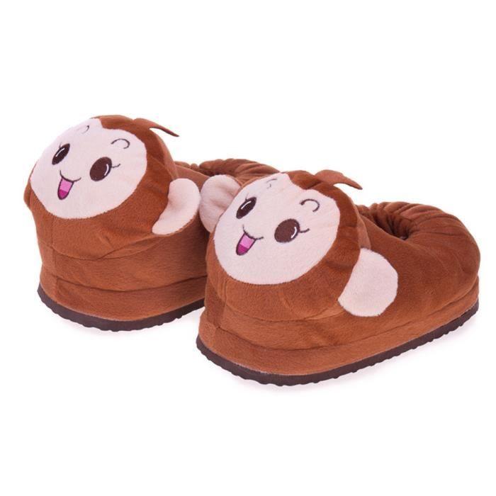 Petit singe Chaussons Nouvelle Mode doux Décontractées Série à domicile plus cachemire chaud Chaussure charmant Couple Taille 35-44