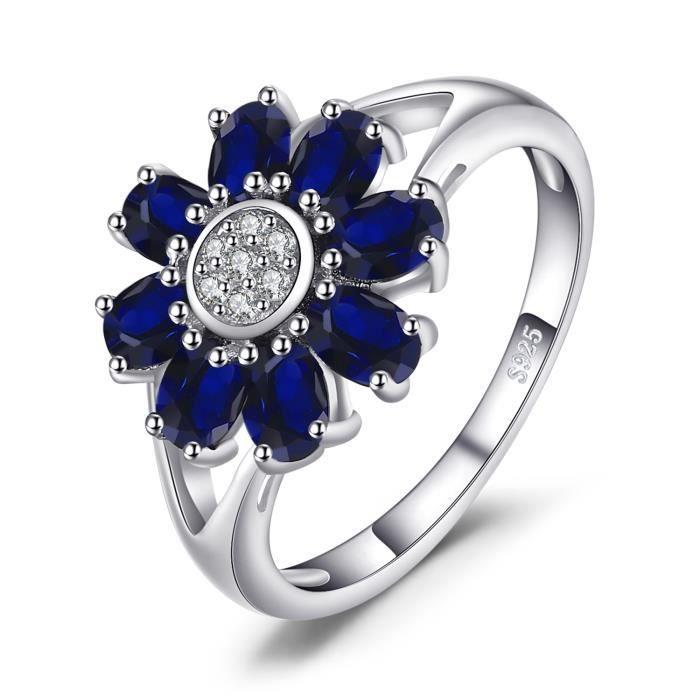 JewelryPalace 4.6ct en Forme de Oval Saphir de Synthese Fleur Wraparound Déclaration Bague de Femme en Argent 925