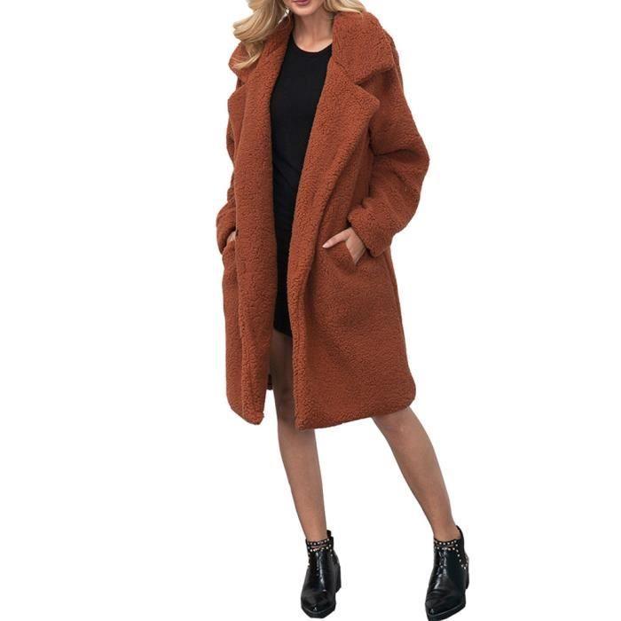 59beb9943aa Manteau d hiver chaud en laine mélangée femme Manteau long féminin ...