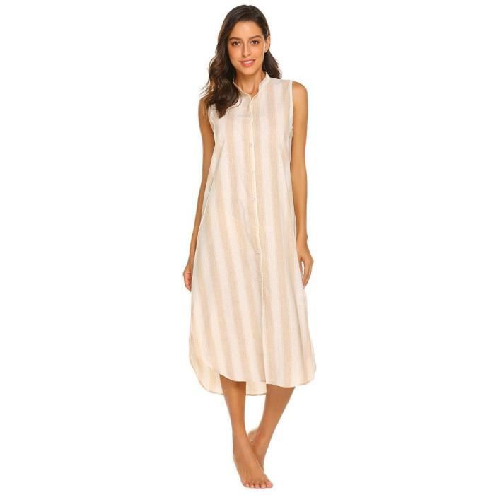 Femmes Pyjama Sans Manches V À Rayures En Décolleté OT0q8w