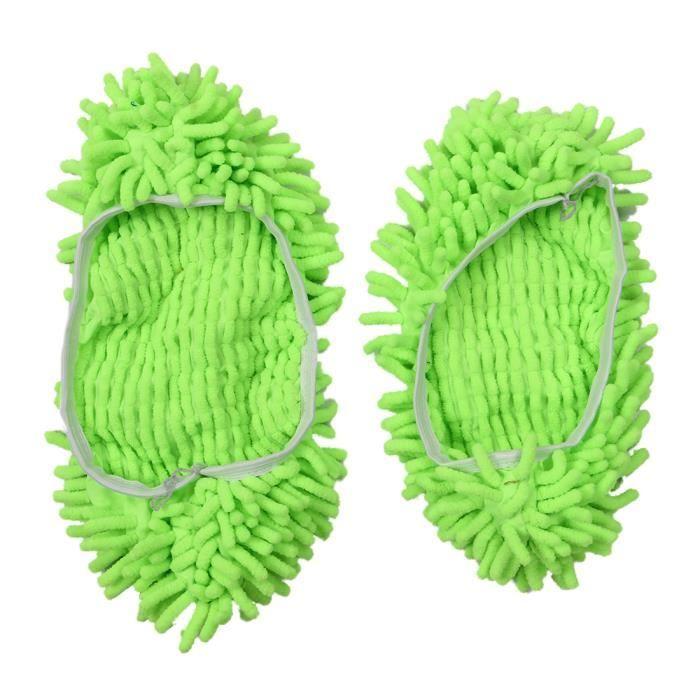 Paire de Chaussures Pantoufle pour Nettoyer les Planchers de la Maison Fibre Chenille