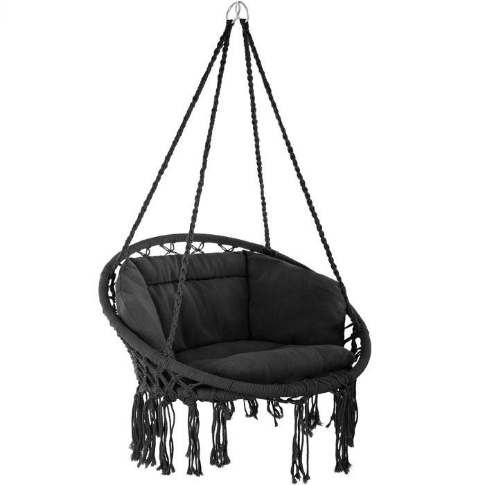 Avec En Place Suspendu Hamac 1 Confortable Coton Extérieur Coussin Fauteuil Design Tectake Noir Intérieur TwOPZiXlku