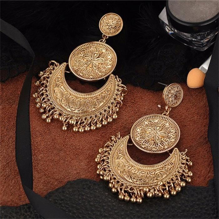 Womens Antique Ethnic Brocade Mexico Gypsy Engraved Lotus Hook Dangle Earrings For AndL4YD6
