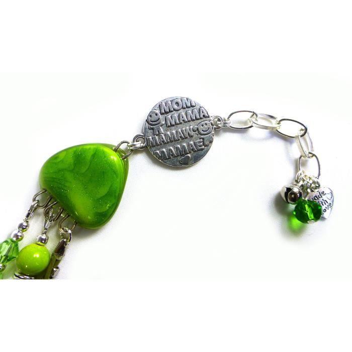 Craze Bracelet réglable Pour Mom   Bright Green   Fused verre, cristaux et cuir