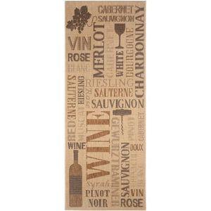 COUVERTURE - PLAID Tapis de cuisine Wine Beige 80x200 cm - Tapis faci