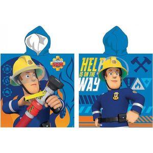 PEIGNOIR SAM LE POMPIER Poncho microfibre 55x110 cm bleu et