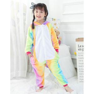 DÉGUISEMENT - PANOPLIE Kigurumi Pyjama Licorne Enfant Arc en Ciel Combina