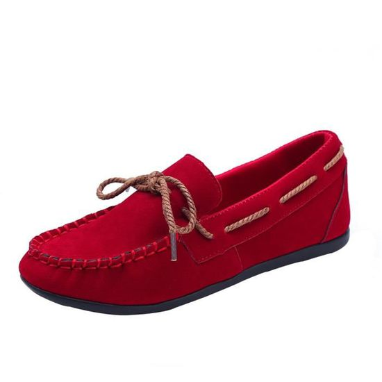Mode féminine à tête ronde Slip-on antidérapants Sole Chaussures Casual Chaussures Lazy Peas Chaussures  rouge Rouge Rouge - Achat / Vente slip-on