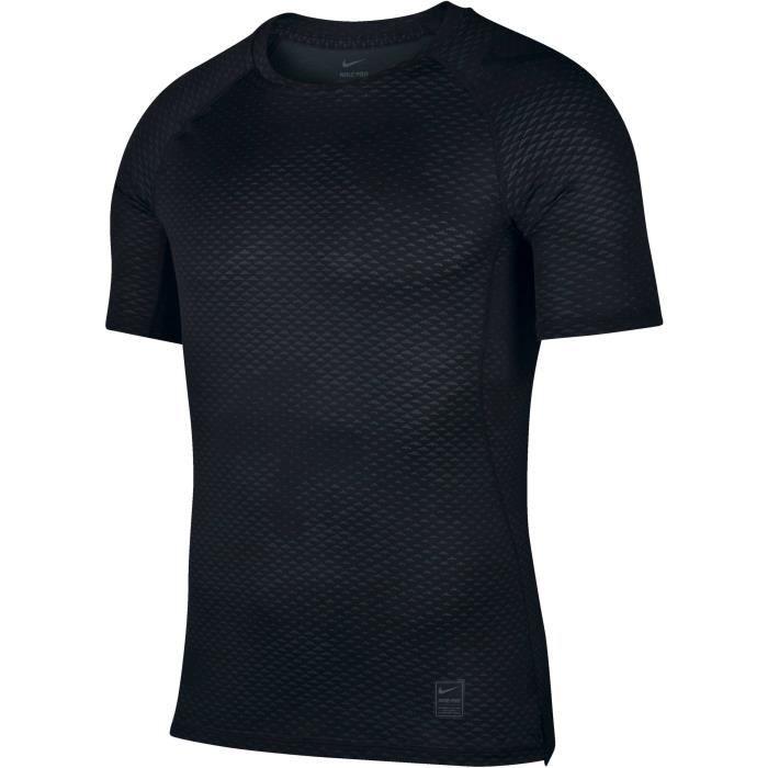 NIKE T-shirt Np Hypercool Fttd Camo - Homme - Noir Noir et gris ... d1bb157b6f8