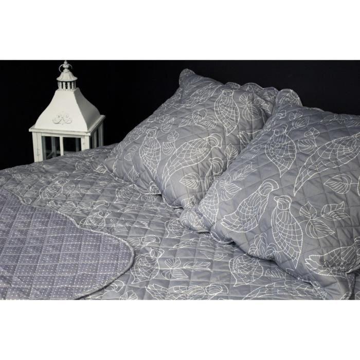 PAVILLON D'INTERIEUR Couvre-lit boutis Tess 230x250 cm + 2 taies d'oreiller 65x65 cm gris et blanc