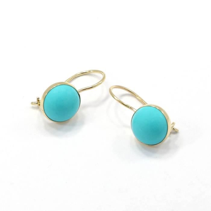 Womens 14k Solid Yellow Gold Turquoise Gemstone Drop Earrings SCQ19