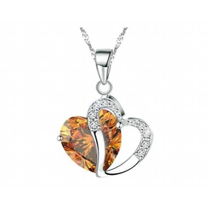 Femmes Mode plaqué argent diamant cristaux autrichienne Coeur de pendentif en forme de collier (citrine) DZT32