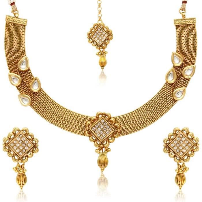 Womens Copper Traditional Handcrafted Necklace Set ZH5OF