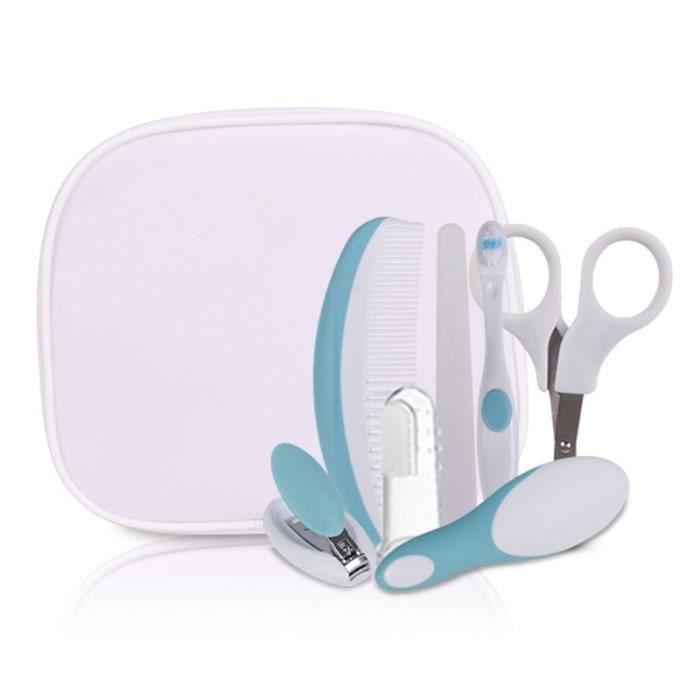 Bleu Trousse Toilette Soins Santé Outil Pour Bébé 7 Pièce Ongles Ciseaux  Brosse Dents 64de1dc1f87