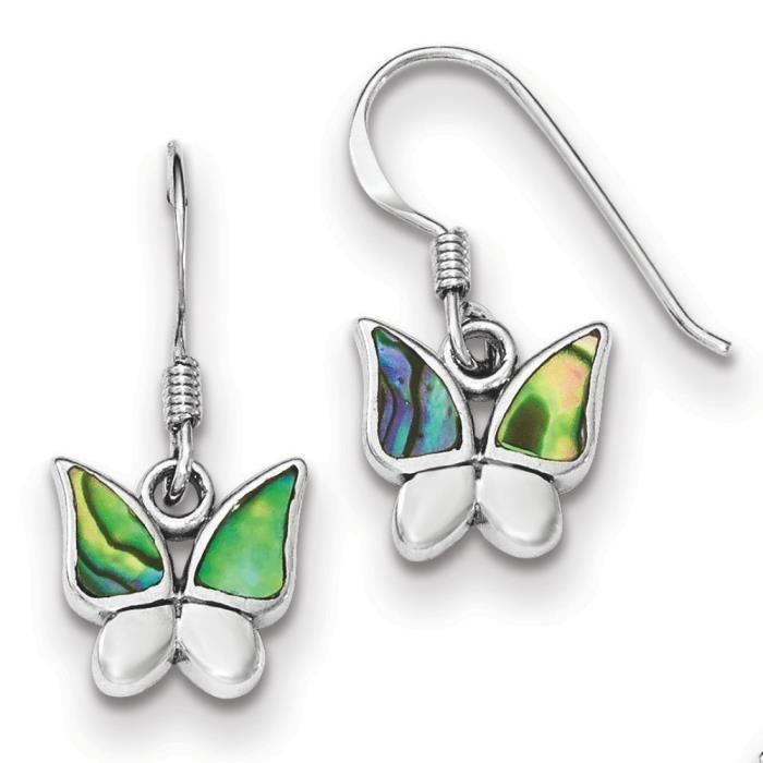 Argent Sterling poli-Boucles doreilles en forme de Papillon Nacré