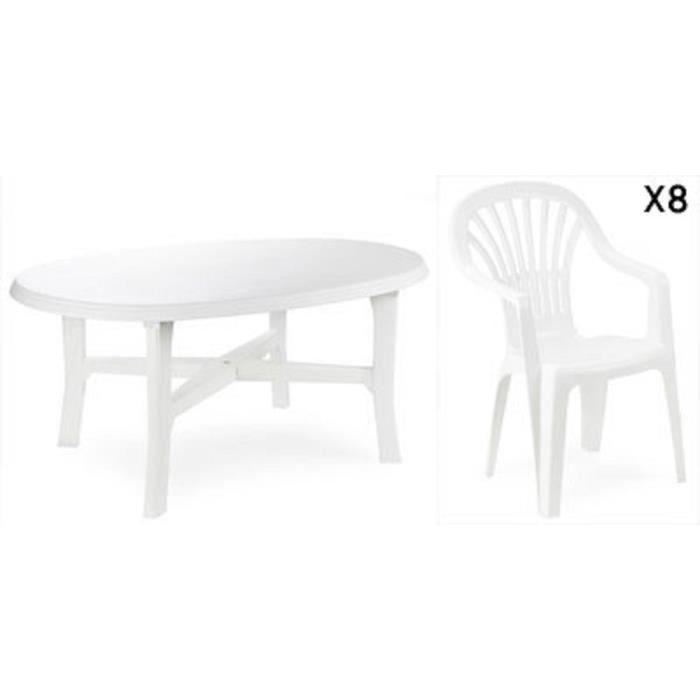 Table ovale blanche + 8 fauteuils empilables blancs avec dossier haut