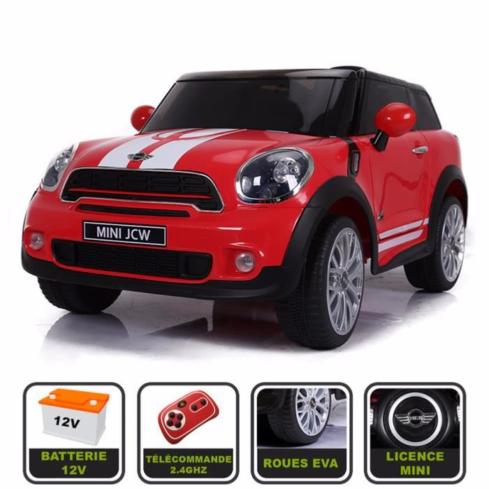 Voiture électrique 12V pour enfant Mini Paceman Cristom® -Roues EVA - Prise  MP3 - Licence MINI rouge 6a6f826352b5