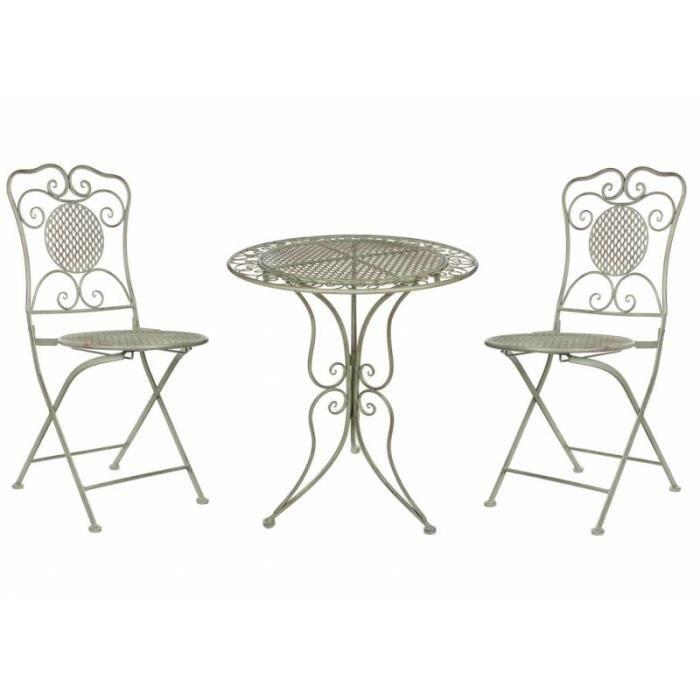 Salon de Jardin Salon de Thé 2 Places Personnes Table Bistrot et 2 ...