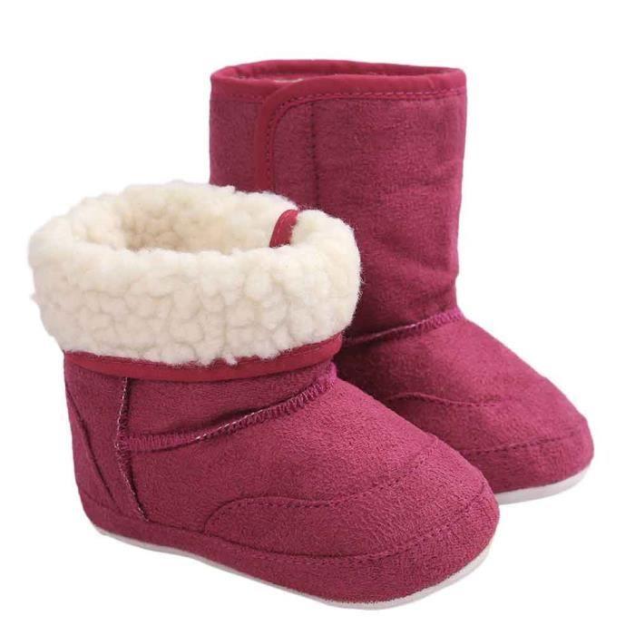 Bottes de neige molles pour bébés semelles molles bottes tout-petits violet