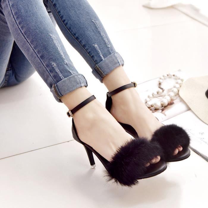 Hotskynie®Femmes bloc haut talon sandales cheville tie up fourrure Strappy plates-formes Noir*HHQ70804472BK