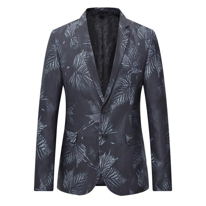 Imprime Fleur Costume Noir Homme Veste De Blazer Casual RETaqp
