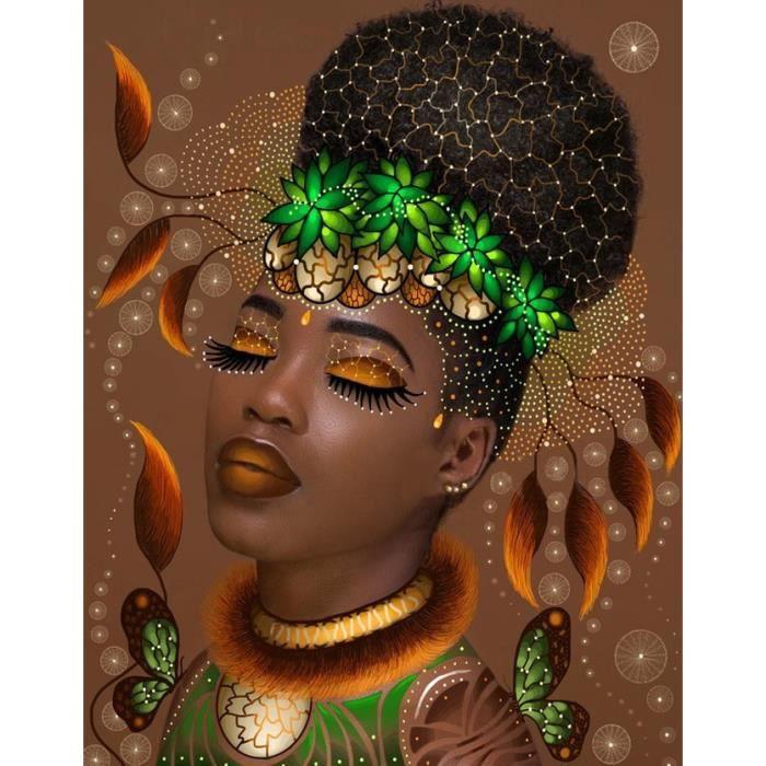 TABLEAU - TOILE Peinture De Diamant 5D Diy De Papillon Femme Afriq