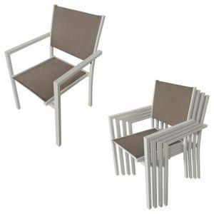 Ensemble table et chaise de jardin taupe - Achat / Vente Ensemble ...