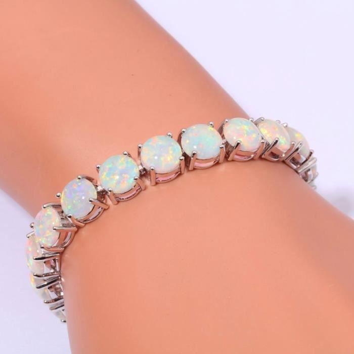 Womens Created Blue White Fire Opal Rhodium Plated For Jewelry Gems Round Bracelet 8 TEZA7