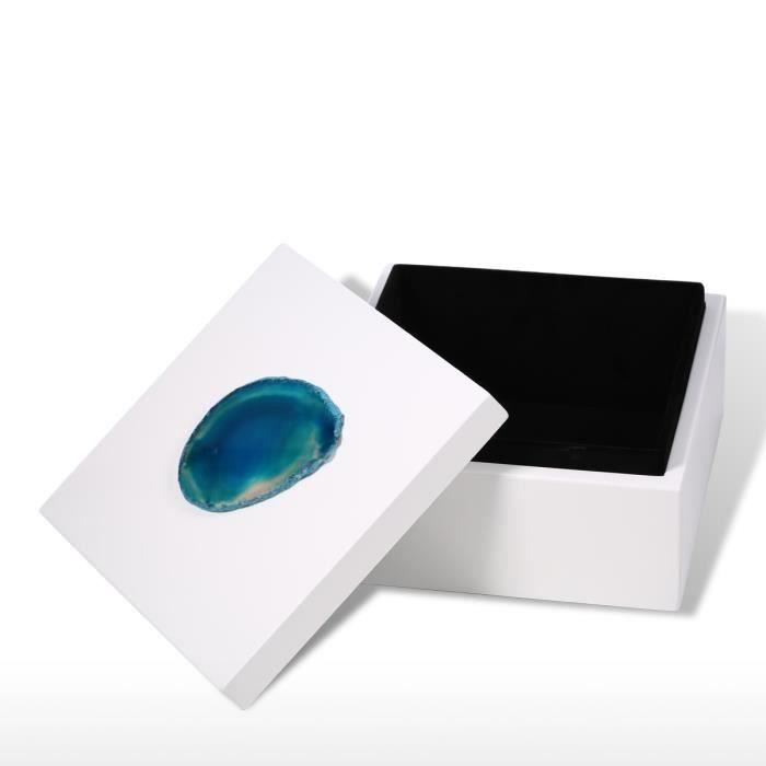 Boîte à Bijoux (Agate bleue-grande taille) Décoration boîte à rangement Anneau collier Cadeaux danniversaire pour femmes Velours