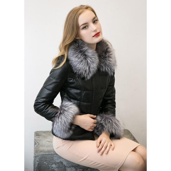 Manteau À Fourrure De Glissière Bas Nouvelles Vers La Matelassée Fermeture Coton Femmes Le Veste D'hiver Parka Col nbsp;noir Aw77z8Uvxq