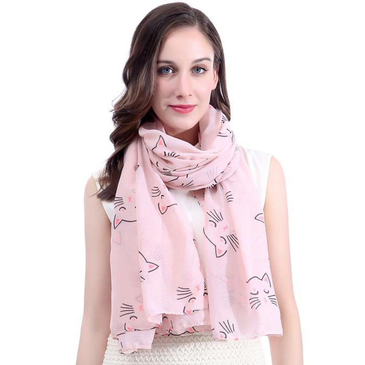 12251f0907f6 Foulard rose avec des chats - Achat   Vente pas cher