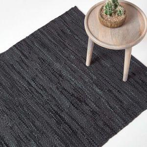 TAPIS Tapis cuir Denver tissé Noir 150 x 240 cm