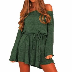 97a45279c47 ROBE Womens tricot pull à manches longues pull robe hor ...