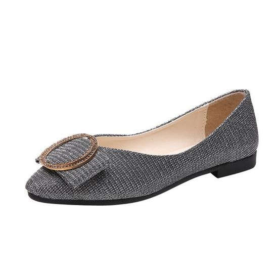 Pachasky®Femmes Shallow Square Boucle Slip On Chaussures à talons bas Toe Square Chaussures simples@rouge  Argent - Achat / Vente slip-on