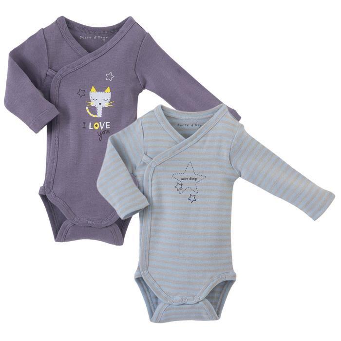 Lot de 2 bodies bébé Mixte SUCRE D'ORGE - manches longues Violet et Ciel
