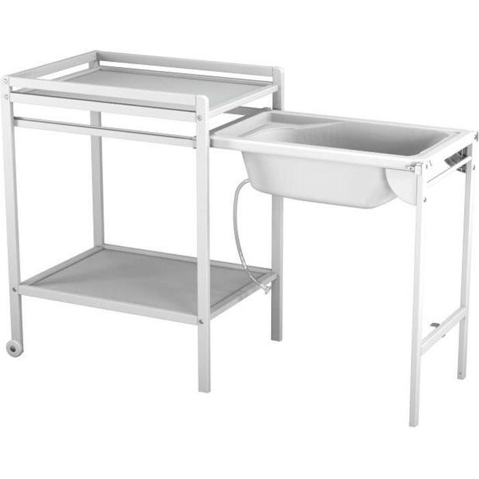 AT4 Table à langer à roulettes avec baignoire -Blanc