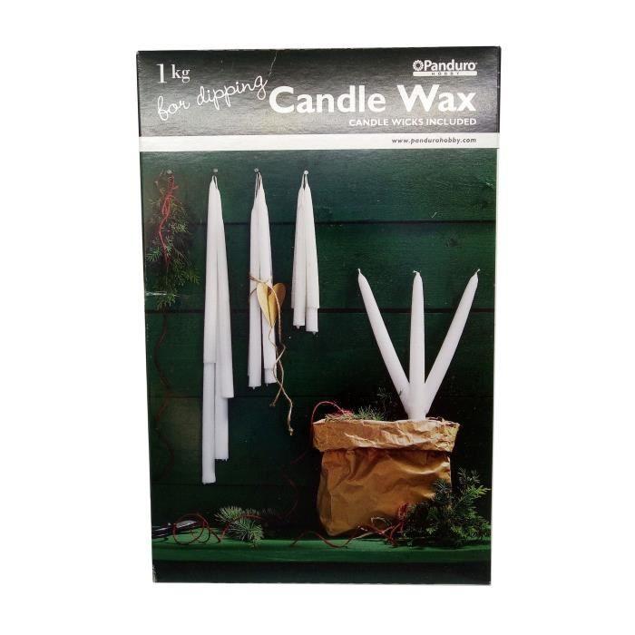 PANDURO Cire Pour Chandelle - Pour composé 20 chandelles - Livrée avec mèche et explications -Paquet de 1 kg
