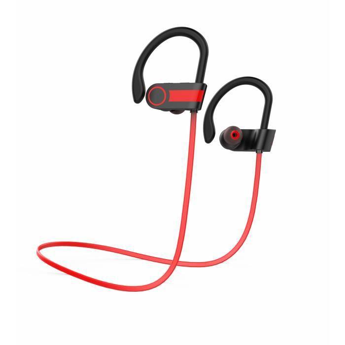 Juce® Ecouteur Oreillette Bluetooth Casque De Sport Sans Fil Stéréo Compatible Iphone Android Et Autres Appareils - Rouge