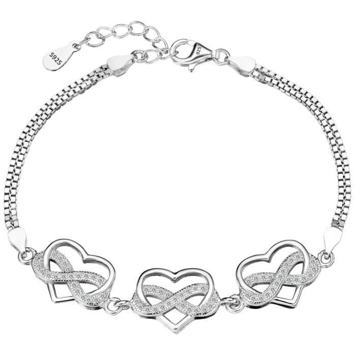 EVER FAITH® Femme 925 Argent Noces Mariée Cubique Zirconia Infinitif Cordiforme Cœur Bracelet Claire