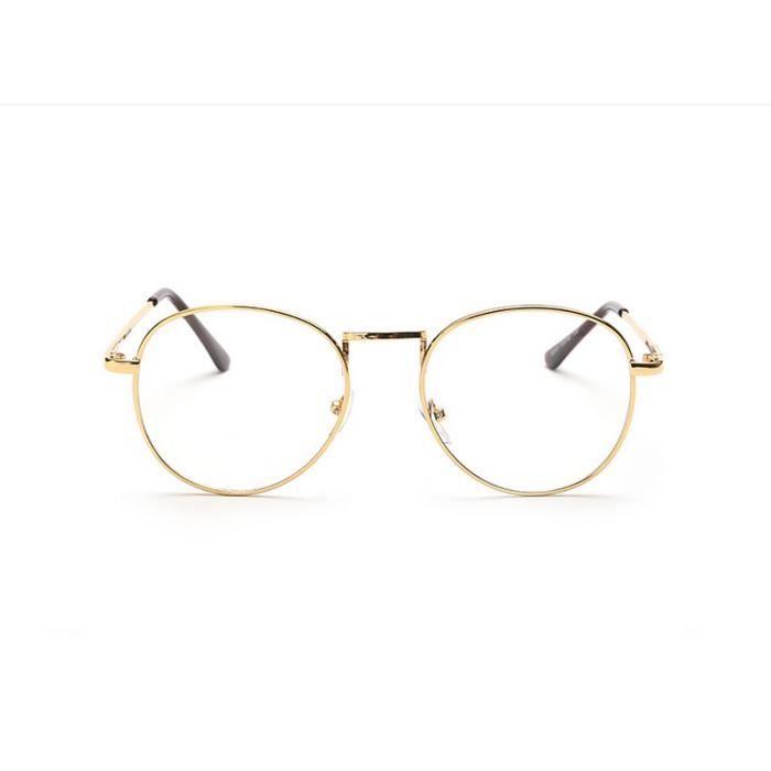Monture de lunettes en metal Lunettes transparentes rétro en verre neutre  monture bf41c8158b35
