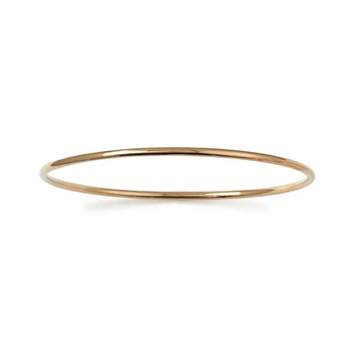 MARY JANE - Bracelet plaqué Or - Larg:2mm - Haut:66mm - Femme - Jonc - Rigide - Rond