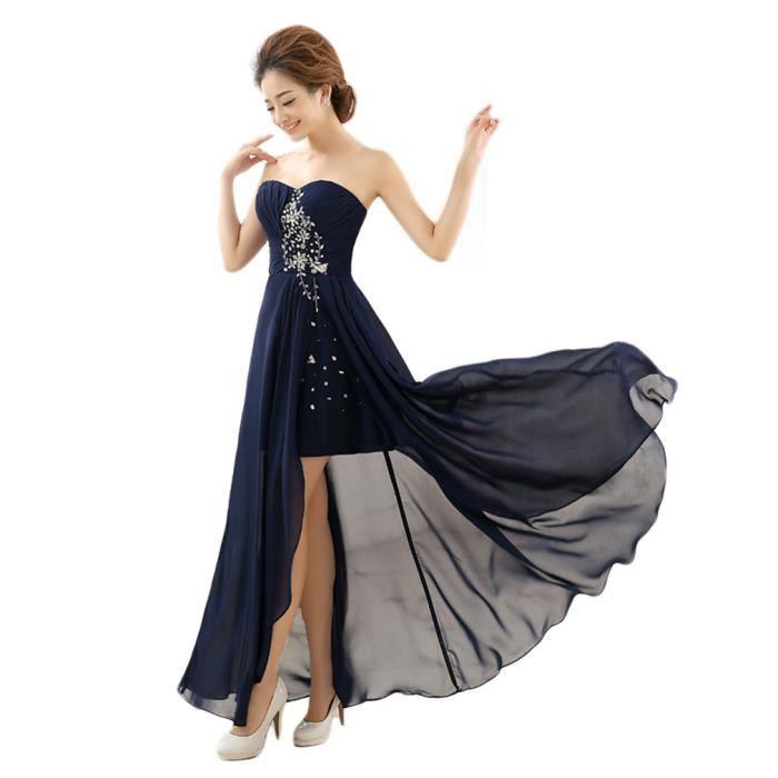 717914224bbf Tenue de Soirée Femme Robe de Cérémonie Tube Vêtement Diamanté Bleu Foncé