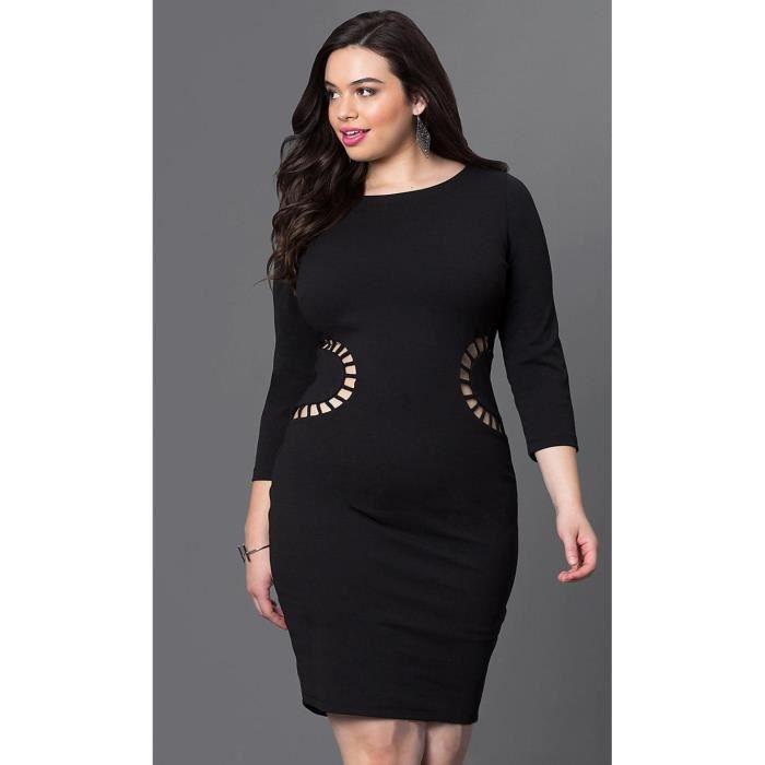 EOZY Robe de Soirée Grande Taille Femme Sexy Col Rond Mode Noir ... 4efb4bc70af