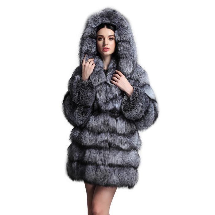 femme manteau long vrai fourrure de renard femme avec fourrure de capot renard argent renard. Black Bedroom Furniture Sets. Home Design Ideas