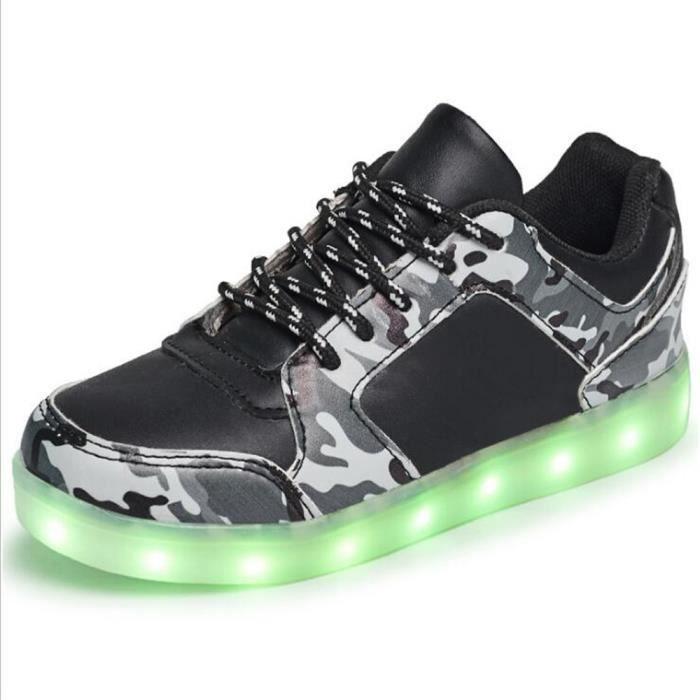 baskets Enfant Classique Confortable Charge USB Enfants Lumières LED colorées Marque De Luxe 2017 Nouvelle Mode Plus Taille 25-37 Z8aWvO7AR8