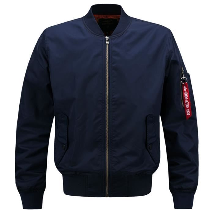 29e1b38a5b9a Bomber Homme Classique Style Flight Jacket Casual Manteau Stand ...