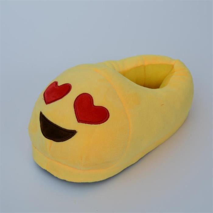 Mignon chaussons Expression Sourire Unisexe pantoufle chaud femmes et hommes hiver peluche chausson cartoon Coton pantoufles Mixte qKFT3NWWfD