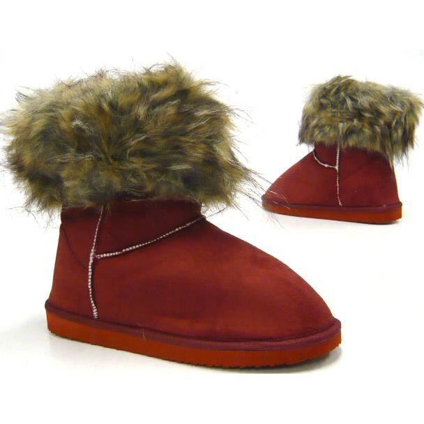 fausse fourrure Boots hiverbottes épais doublé femmes bottes camel 40 lWT2q1pk2